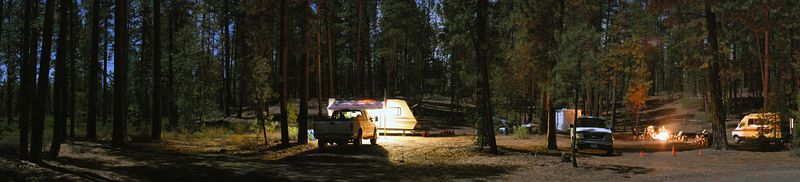Here's an entire 180 degree shot of the campground at night.  The shadows are from the full moon, which was so bright you couldn't look straight at it and made sharp shadows and enough light for the camera to pick out colors..  It was beautiful, to say the least..